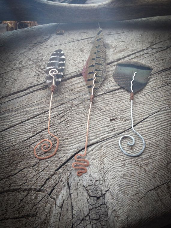 Feather Bookmarks Set of three Hammered wire by WILDIVYCREATIONS