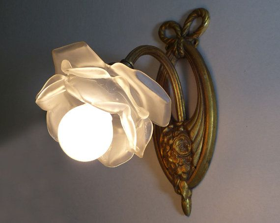 Antique French Wall Sconce Bronze Wall Light with  by LaLoupiote