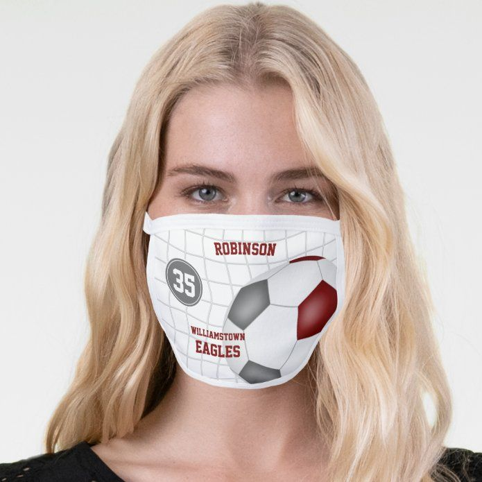 Maroon Gray Team Colors Player Name Soccer Face Mask Zazzle Com In 2020 Team Colors Personalized Soccer Soccer