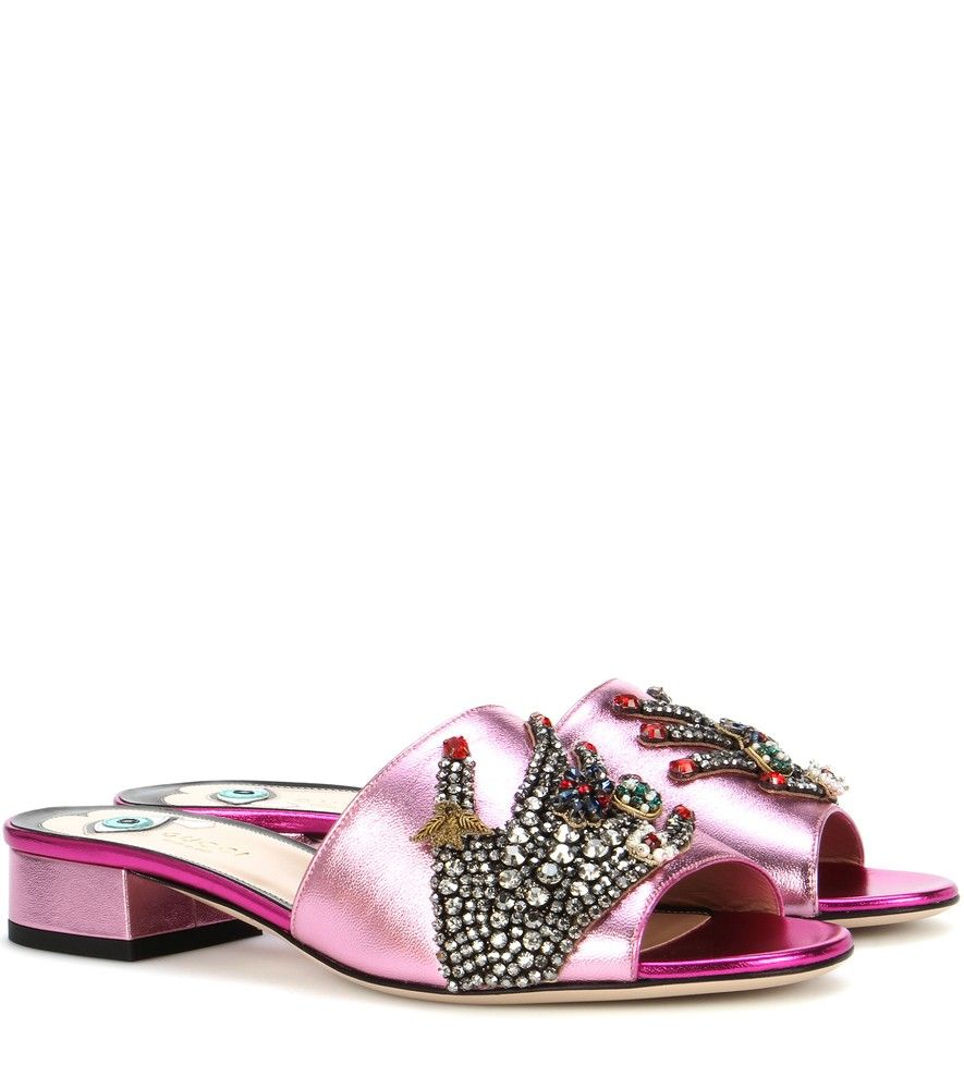 122b061816d0 Gucci - Crystal-embellished metallic leather sandals - Gucci opts for an  ultra-opulent look this season with this pair of head-turning sandals.