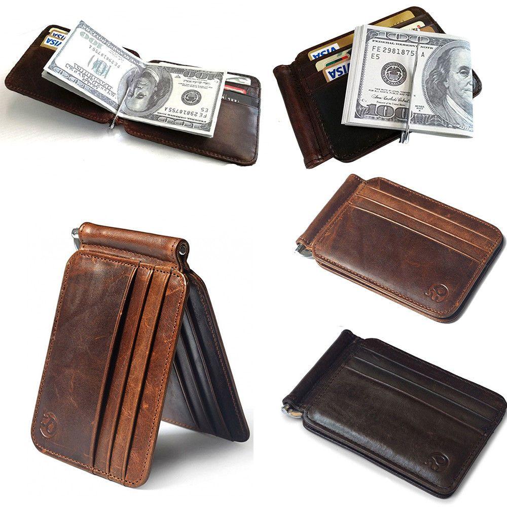 Men/'s Leather Slim Money Clip Front Pocket Wallet Thin Credit Card Holder New