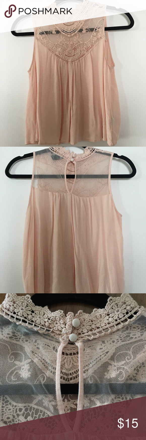 Beautiful Bohemian Crochet Flowy Top! Super cute blush pink flowy shirt! Only worn once! Forever 21 Tops