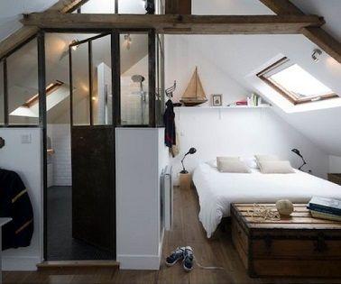 suite parentale dans une chambre mansard e sous les toits chambre adulte et le toit. Black Bedroom Furniture Sets. Home Design Ideas