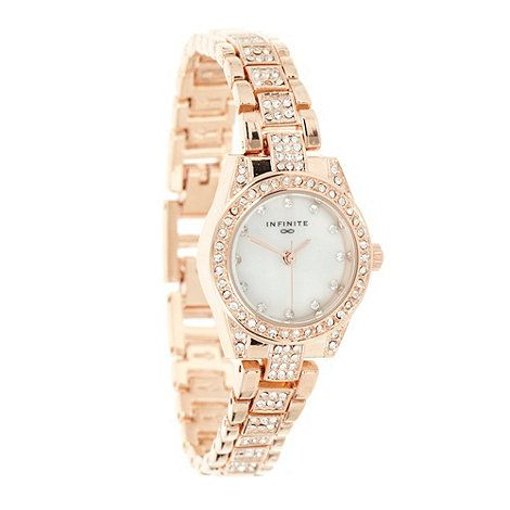 Infinite Ladies rose gold pave diamante bracelet watch.