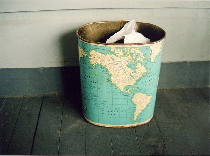 Great Idea-map to cover p's ugly Michigan trash can?