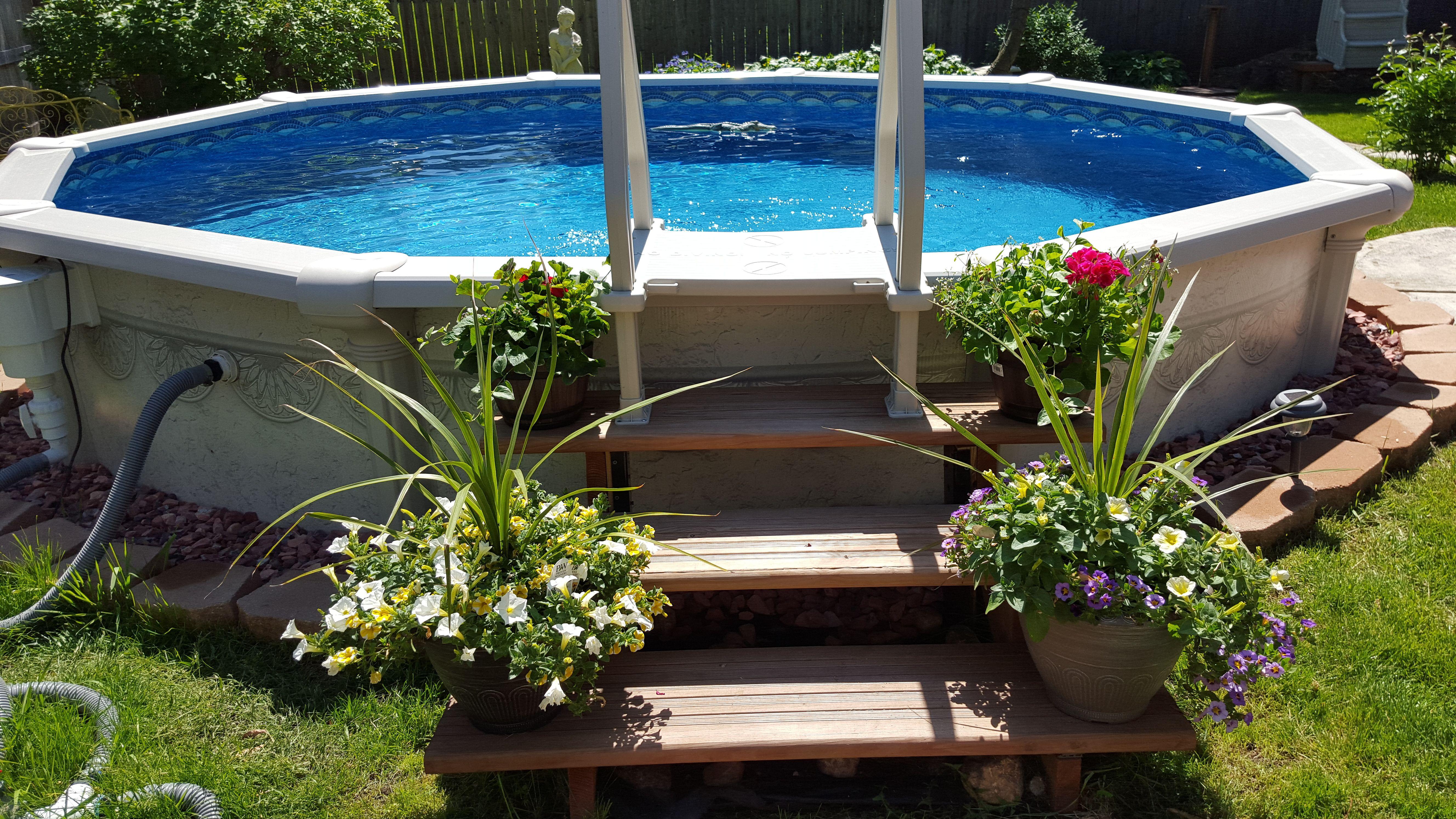 Semi Inground Pool Backyard Pool Landscaping Swimming Pool