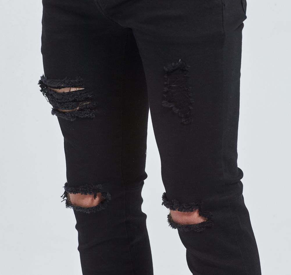 ac32486020 Nuevos Hombres Stretch Skinny Jeans Rasgados Agujero Destruido Apenada  Urban Classic Moda Tobillo Cremallera Pantalones Vaqueros