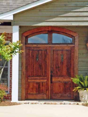 Beautiful, Solid Wood Double Entry Door With Single Lite Arch Top Transom.