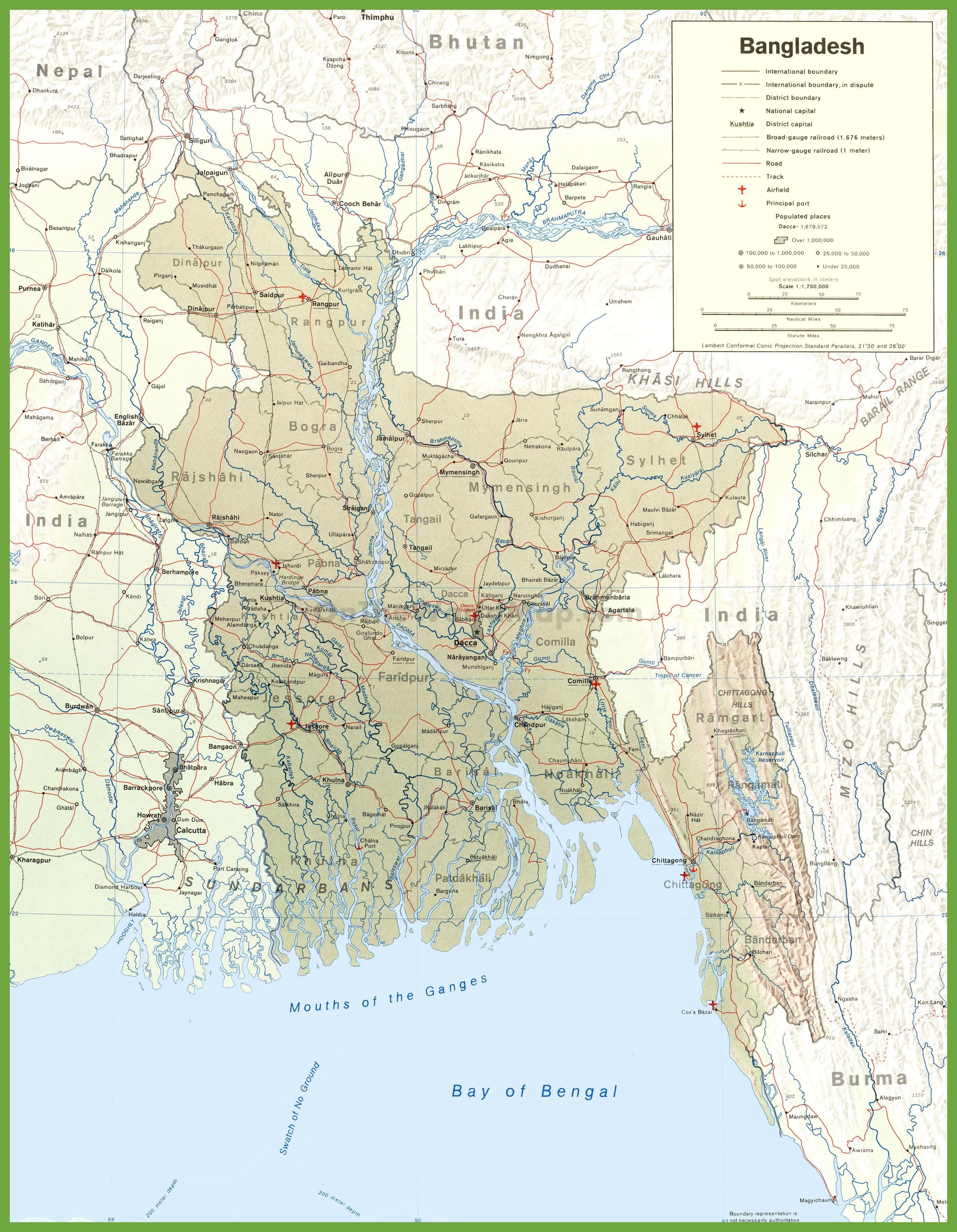 Road Map Of Bangladesh