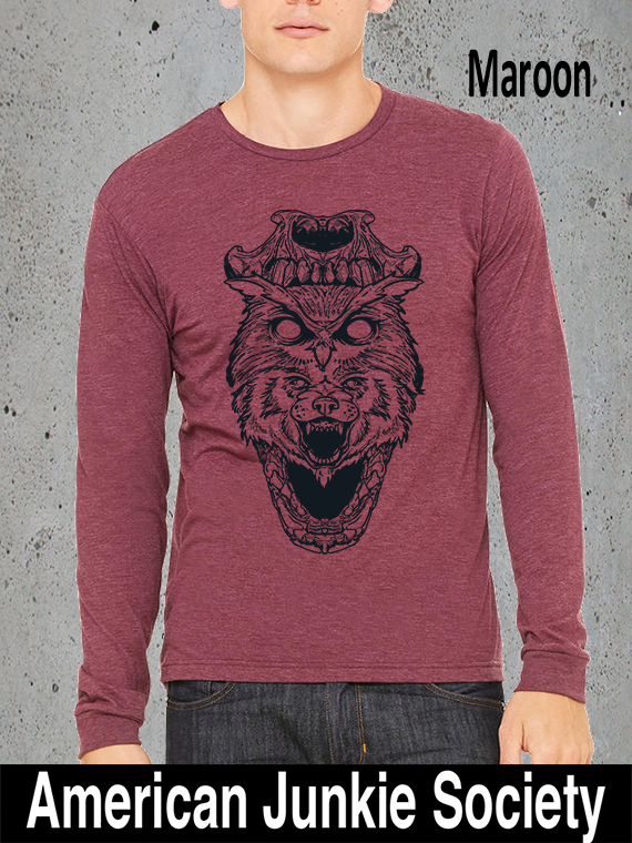 Wolf in Owl Disguise Gifts Maroon Christmas Gifts Idea for her/him. College Student Gift. Girlfriend/Boyfriend GIfts.Mens/Womens Graphic Tees  Popular Trending Now