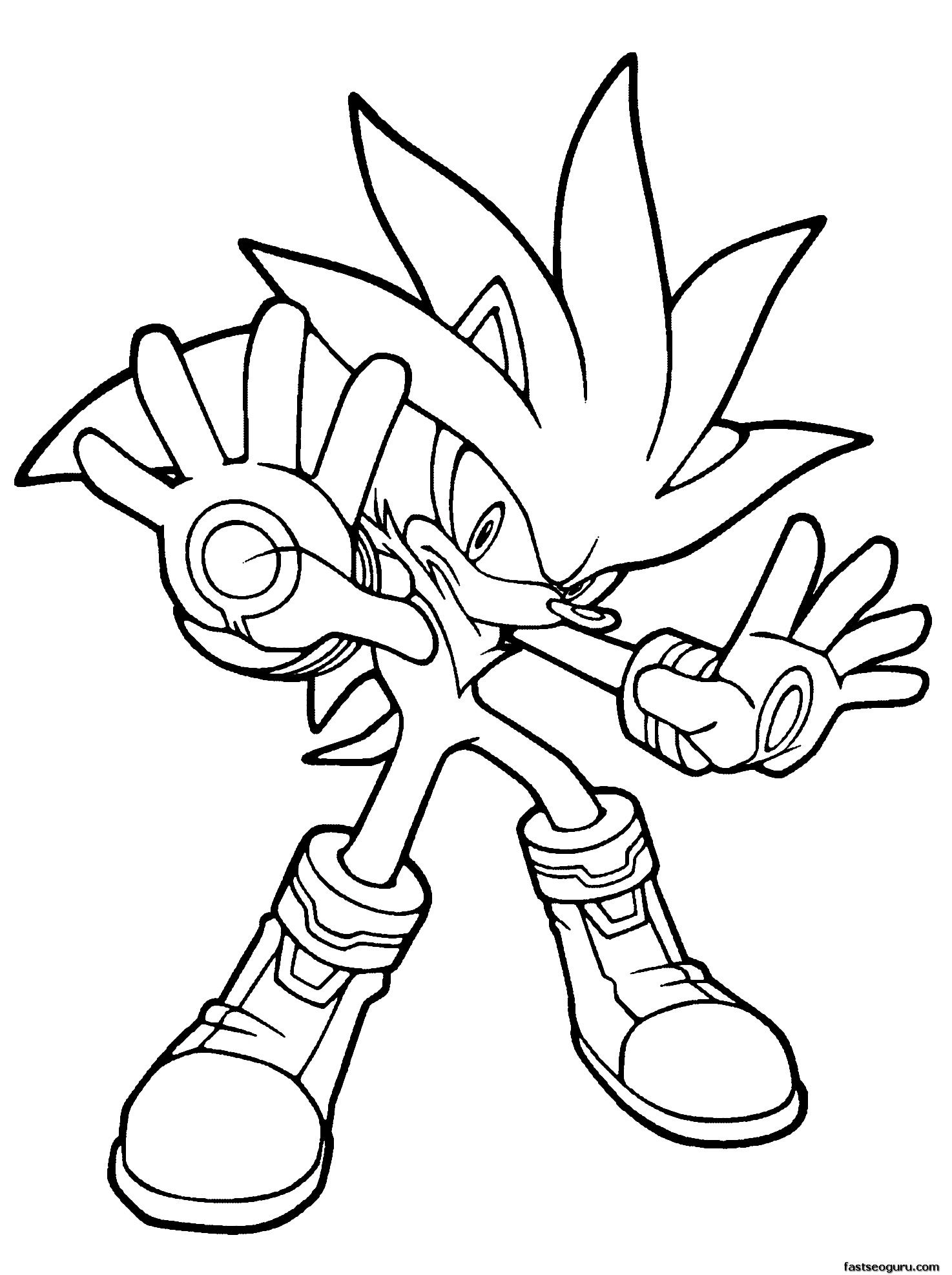 Printable Sonic The Hedgehog Silver Coloring In Sheets Hedgehog Colors Cartoon Coloring Pages Cool Coloring Pages