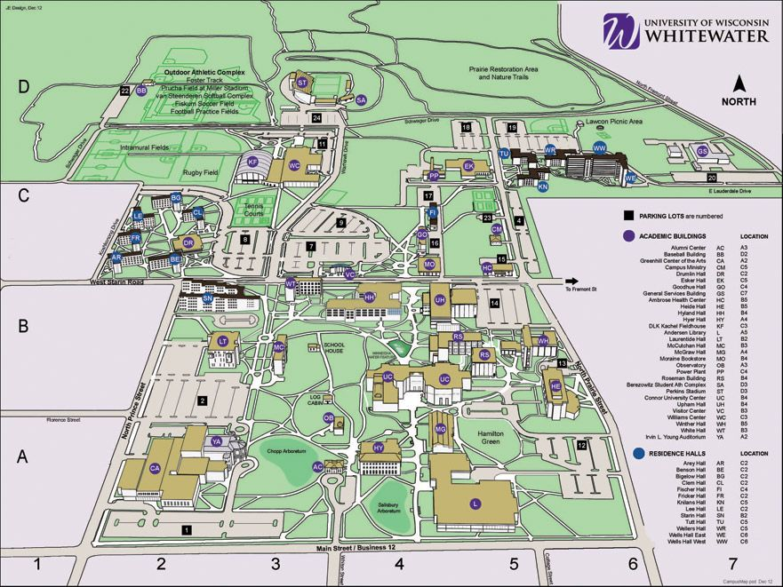 Campus Map University Of Wisconsin Whitewater Plans Campus