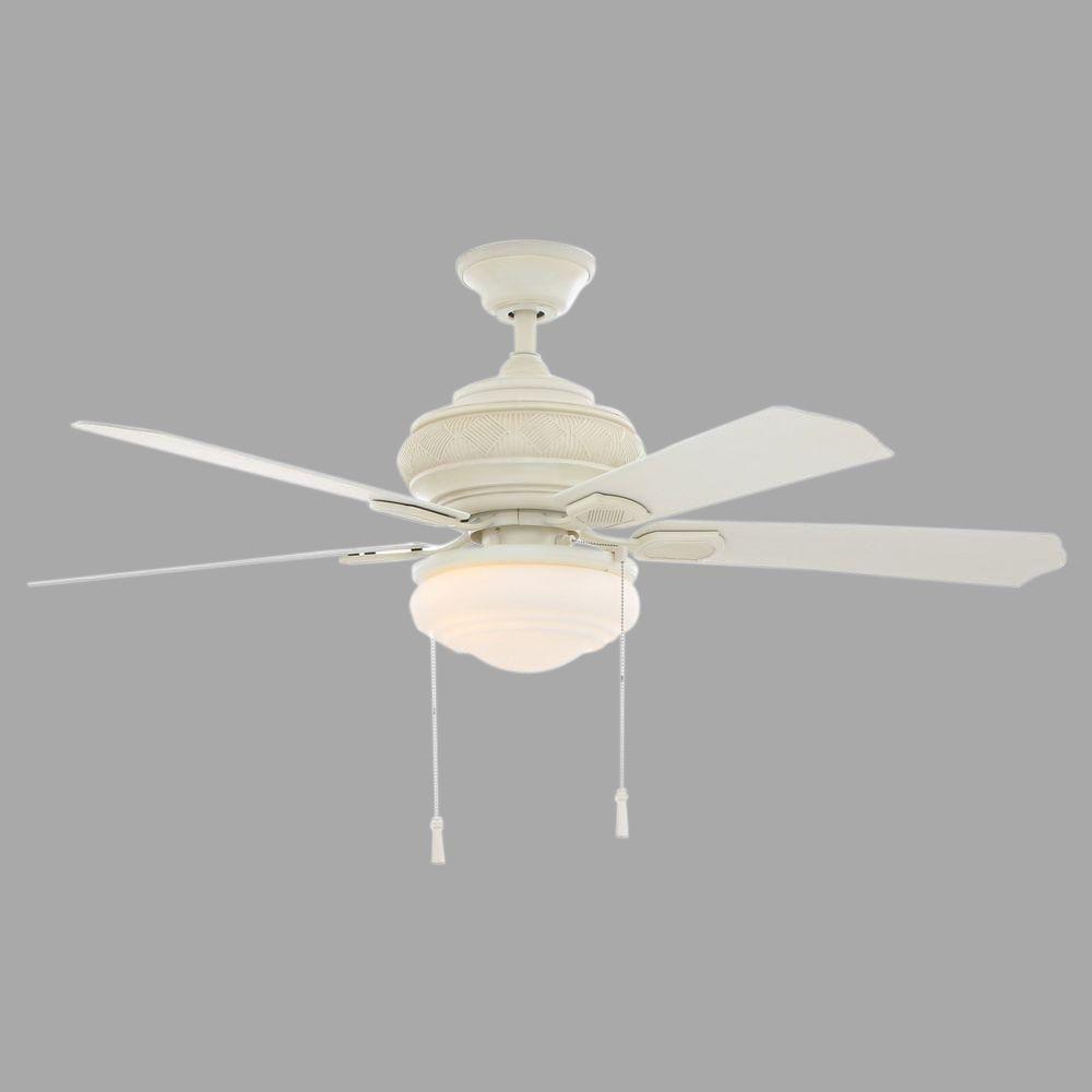 Hampton bay portsmouth 52 in indooroutdoor vintage white ceiling indooroutdoor vintage white ceiling fan with light kit aloadofball Gallery