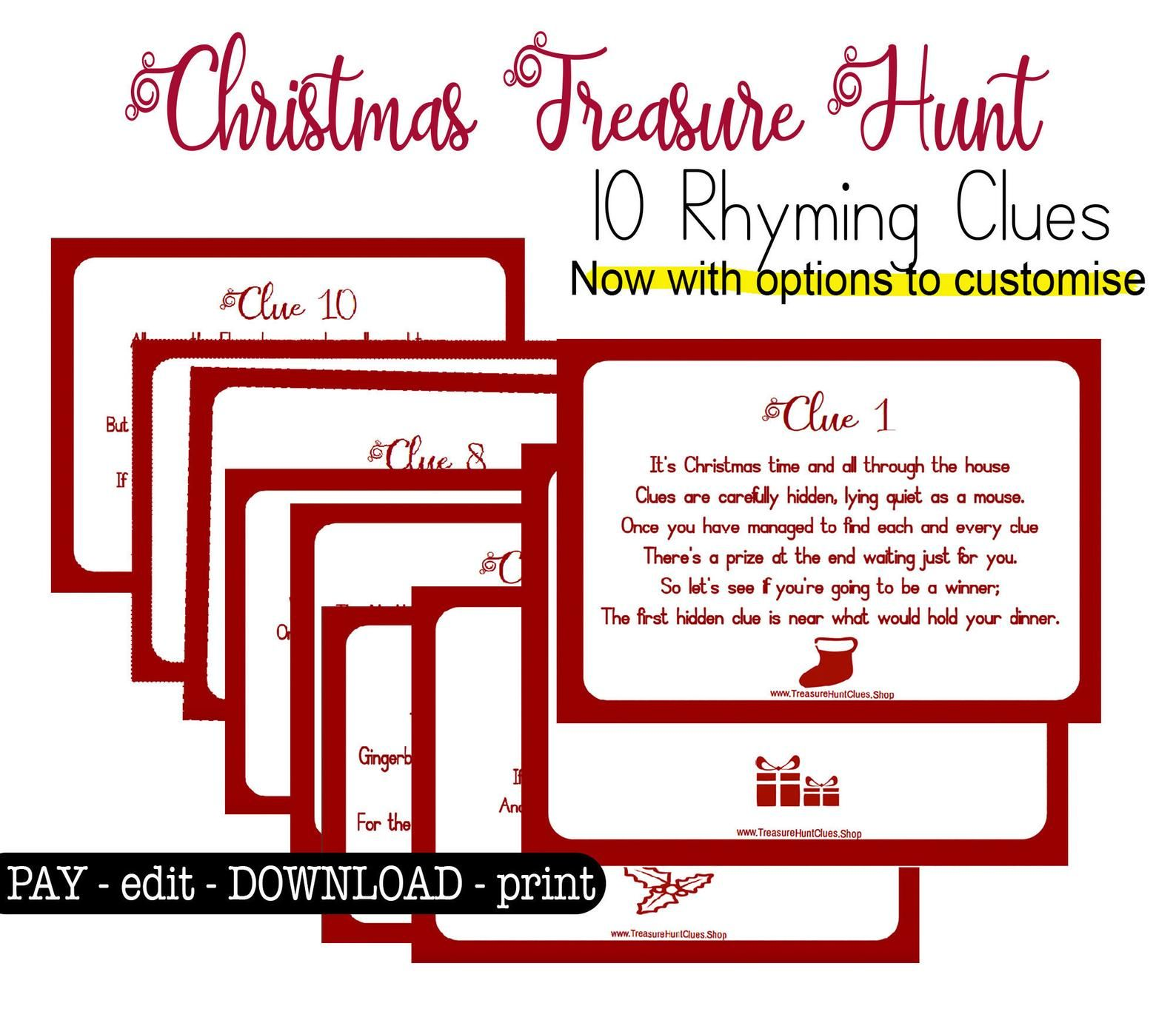 Indoor Christmas Treasure Hunt Clues Printable Scavenger