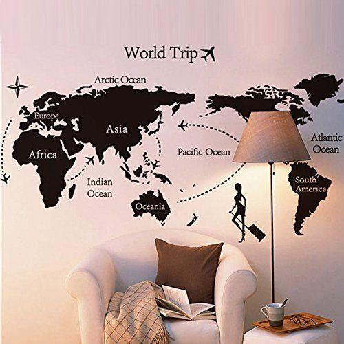 ZGY Wandtattoo Weltkarte Welt Map Atlas Wohnzimmer Schlafzimmer - wandtattoo wohnzimmer retro
