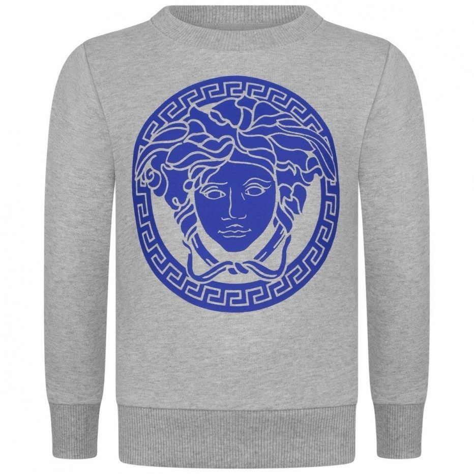 Young Versace Boys Grey & Blue Logo Sweater | Sweaters, Blue