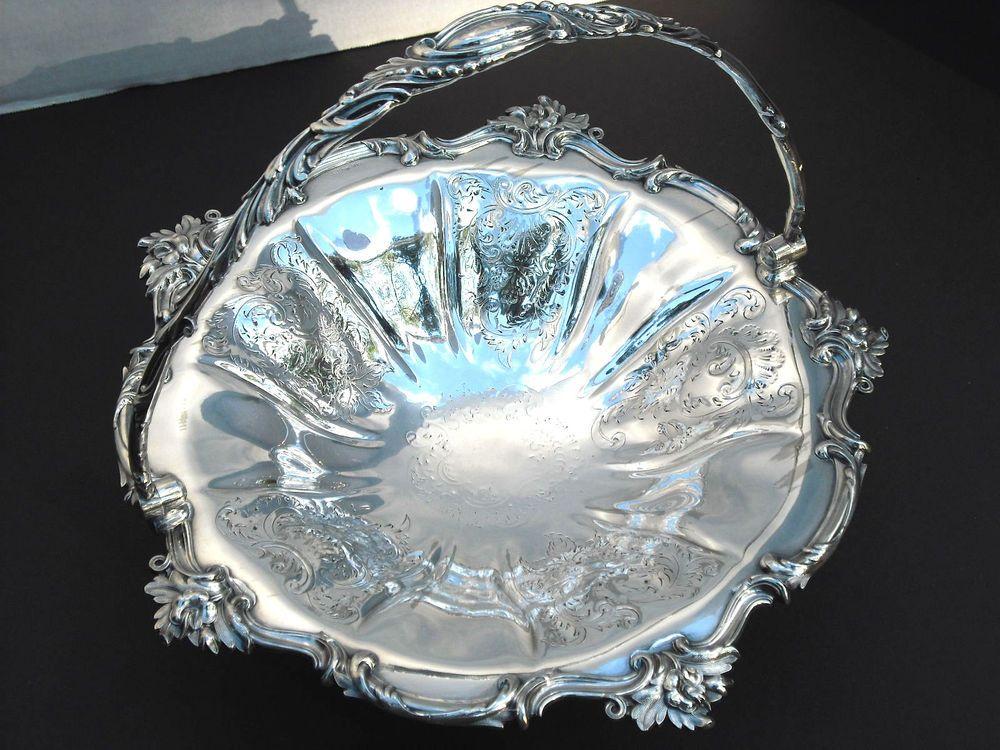 Reduced $20.00!! Victorian Bride's Basket Silver Plate 1848-1858 Roberts & Slater #RobertsSlater
