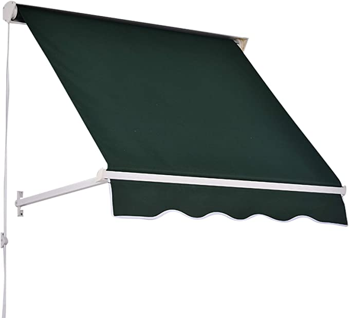 Amazon Com Outsunny 4 Drop Arm Manual Retractable Sun Shade Patio Window Awning Green Patio Awnings Garden In 2020 With Images Patio Windows Patio Awning Window Awnings