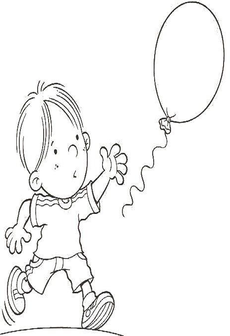 niños con globos para colorear 2 | niños | Pinterest | Globos para ...