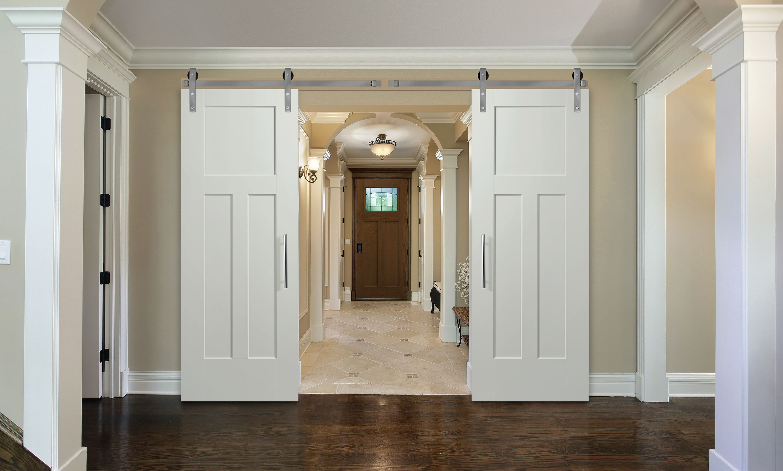 Masonite Double Barn Doors Winslow Heritage Series White Interior
