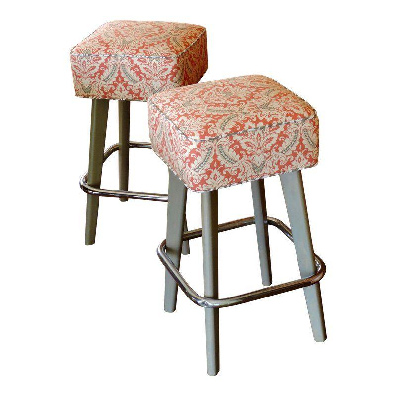 Marvelous Vintage Orange Patterned Seat And Chrome Foot Rest Bar Ibusinesslaw Wood Chair Design Ideas Ibusinesslaworg
