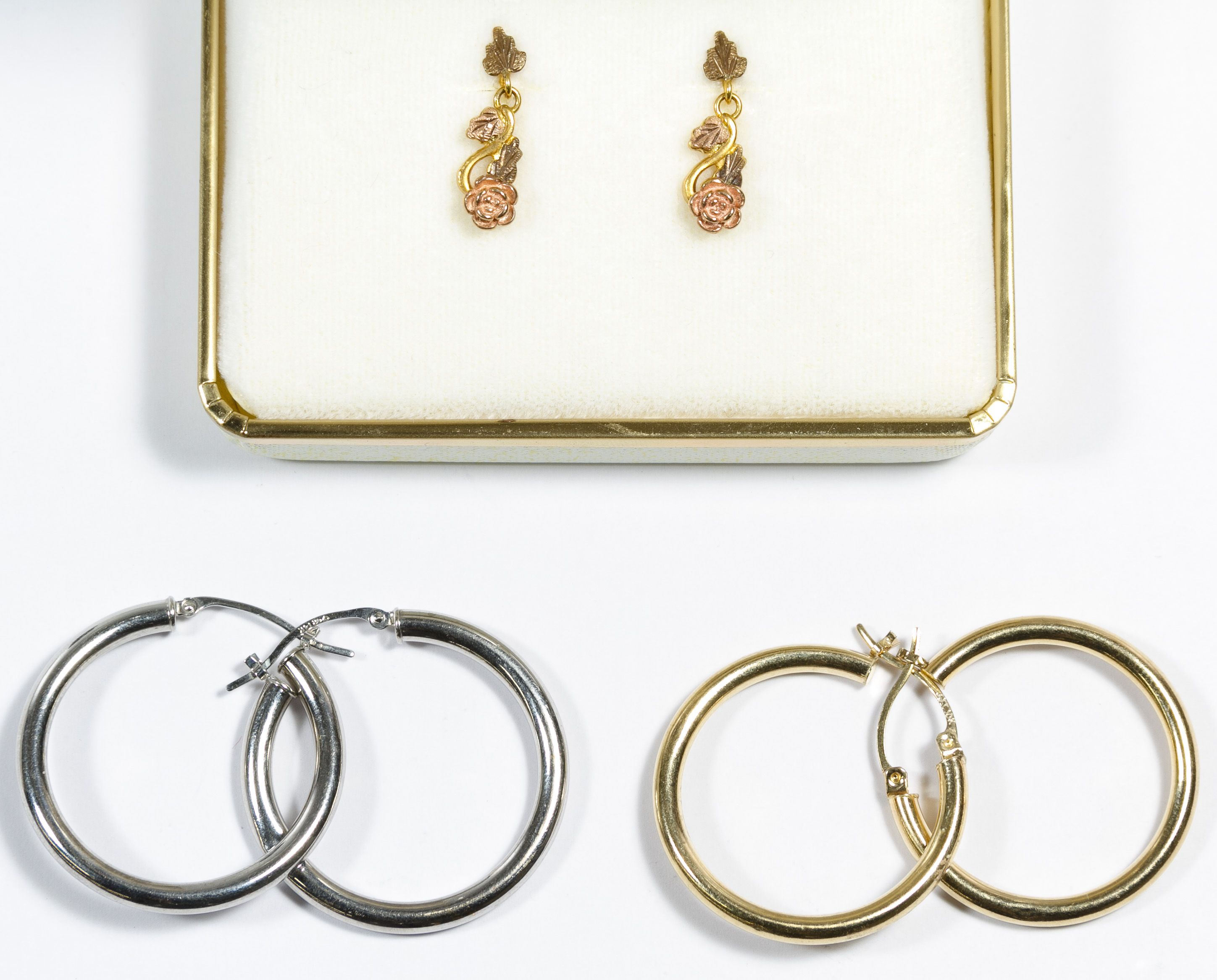 Body piercing earrings  Lot  k and k Gold Earring Assortment Three pairs including