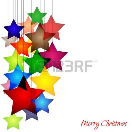 Fondo alegre con estrellas de colores. Merry Christmas. Feliz Navidad. Foto de archivo.