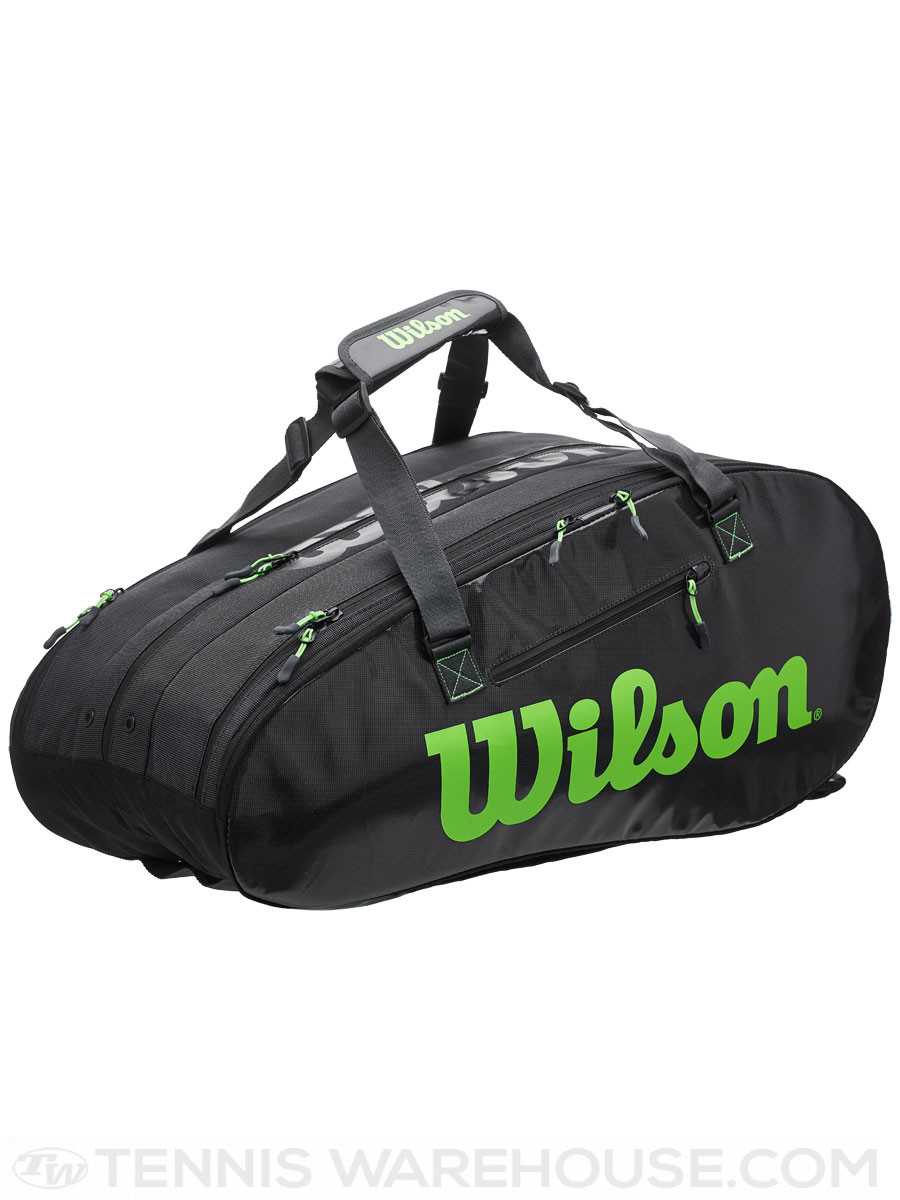 Wilson Super Tour 3 Comp Black/Green 15Pack Bag Bags