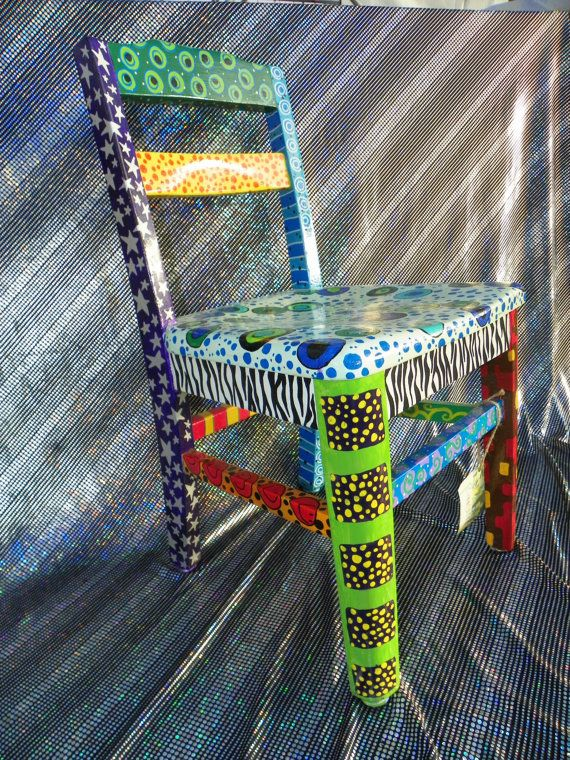 bright, funky, eclectic, hand painted, one-of-a-kind chair ...