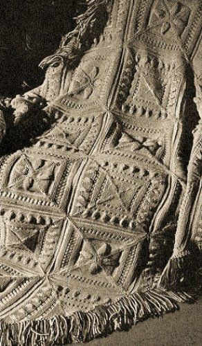 Sculptured Block Knitted Afghan A Vintage 1947 Knitting Pattern