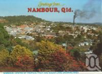 """<span class=""""caption-caption"""">Nambour, centre of tropical fruit and sugar cane growing</span>, c1984. <br />Postcard folder by <span class=""""caption-publisher"""">Wren Souvenirs</span>, collection of <span class=""""caption-contributor"""">Centre for the Government of Queensland</span>."""