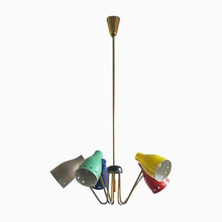 Kronleuchter Farbig kronleuchter mit farbigen leuchten 1950er jetzt bestellen unter