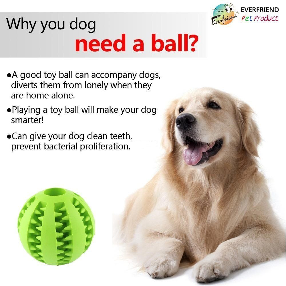 Everfriend Interactive Soft Rubber Dog Toy Ball For Dogs Puppies