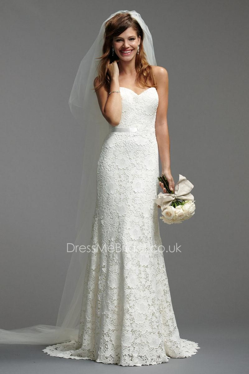 Guipure lace slim aline wedding dress with satin waistband