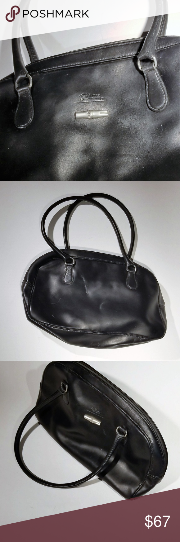 e1a6bed6f126 Longchamp Roseau black leather purse Longchamp 1948 black leather purse  Style  Roseau Roughly 13 inches long by 8 inches high Some wear visible