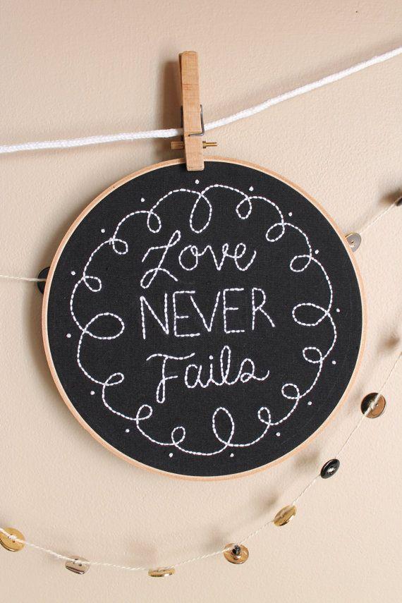 Chalkboard Hoop Art reading Love never fails