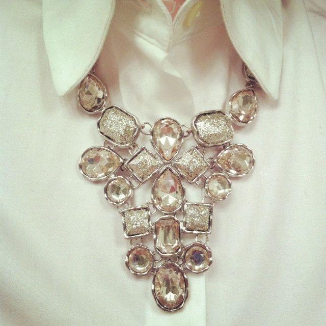 Rhinestone bib necklace, via Etsy.