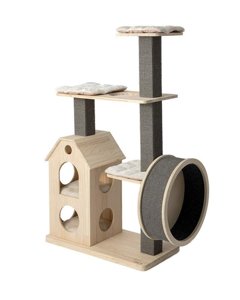 Zxvbyuff Cat Tree Condo Furniture Kitten Activity Tower Pet Kitty Play House With Scratching Posts Perches In 2020 Wooden Cat Tree Modern Cat Furniture Modern Cat Tree