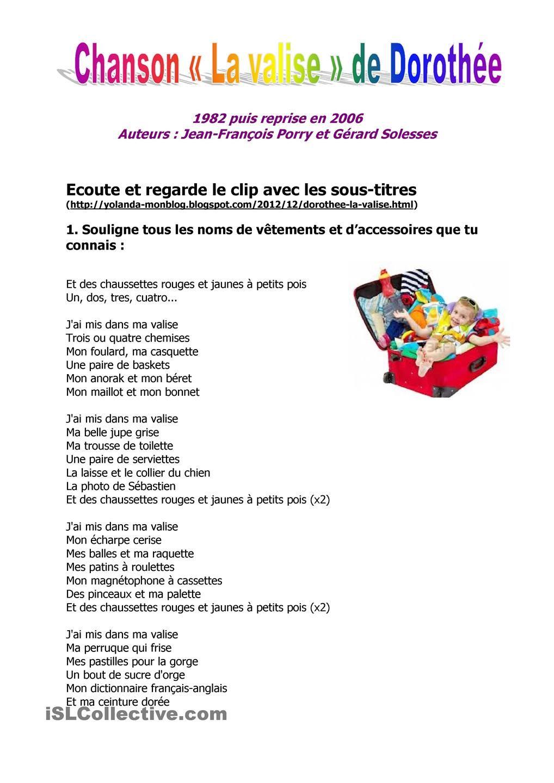Chanson La Valise De Dorothée Clases De Francés Frances