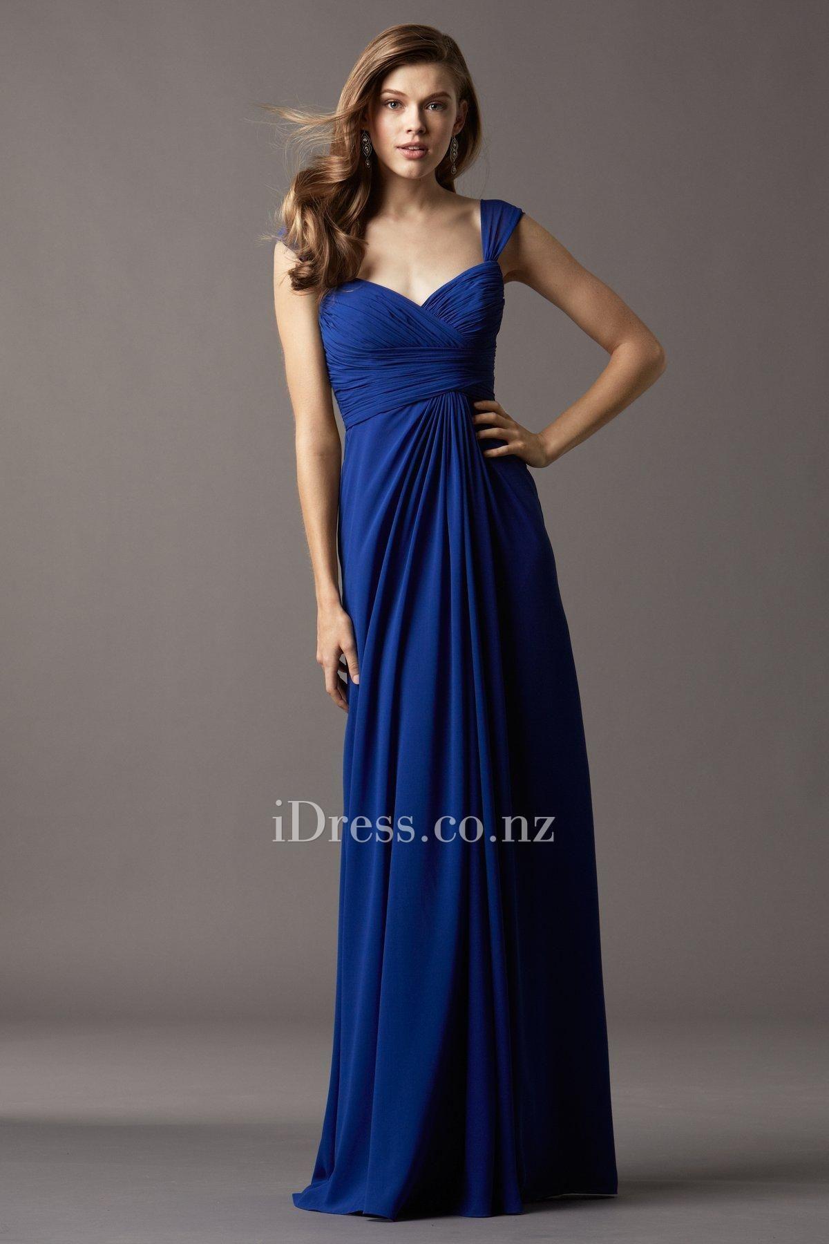 Chiffon Shirred Wide Strap Floor Length Royal Blue Bridesmaid Dress Watters Bridesmaid Dresses Royal Blue Bridesmaid Dresses Long Bridesmaid Dresses