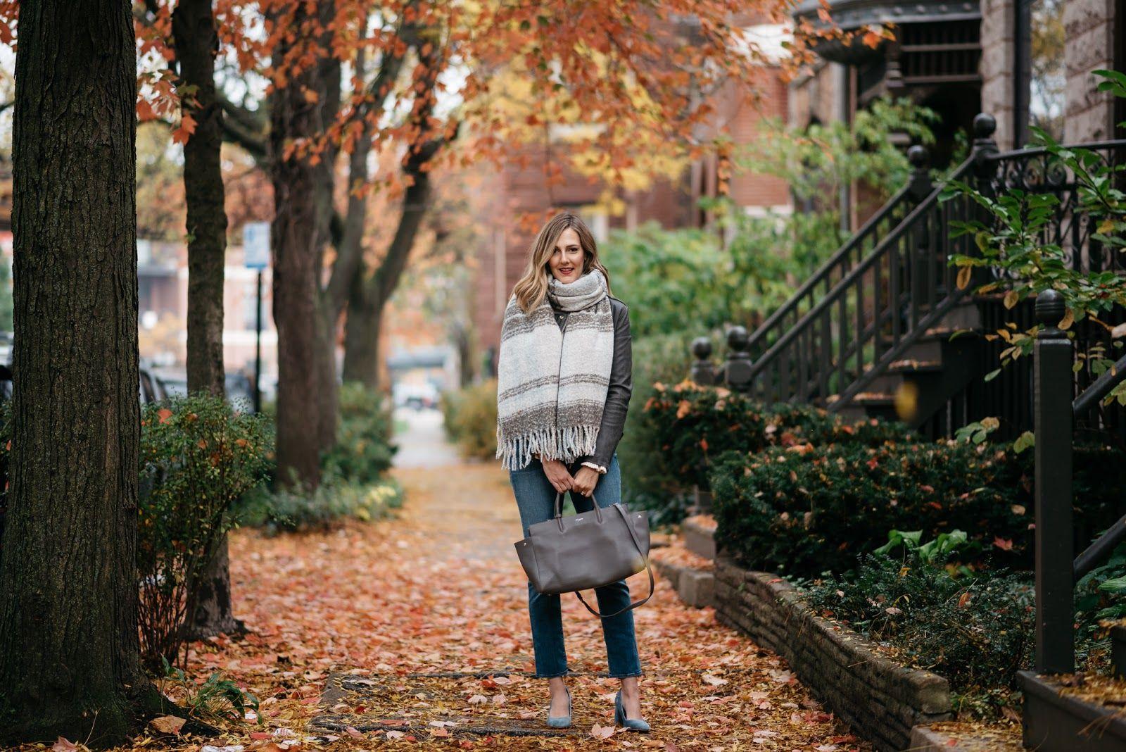 SeeAnnaJane.com:  bro jacket ( look for less here ), sweater ( similar version here ), jeans,  shoes ( love this velvet block heel! ), bag , scarf  (l...