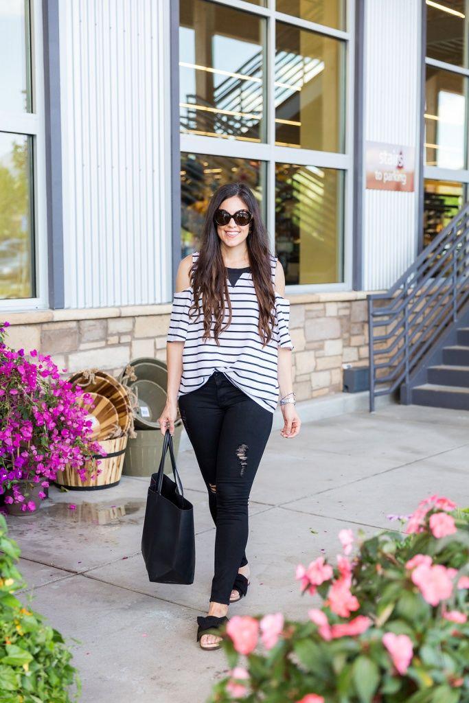 7d5a28a33457c Black + White Stripes Cold Shoulder
