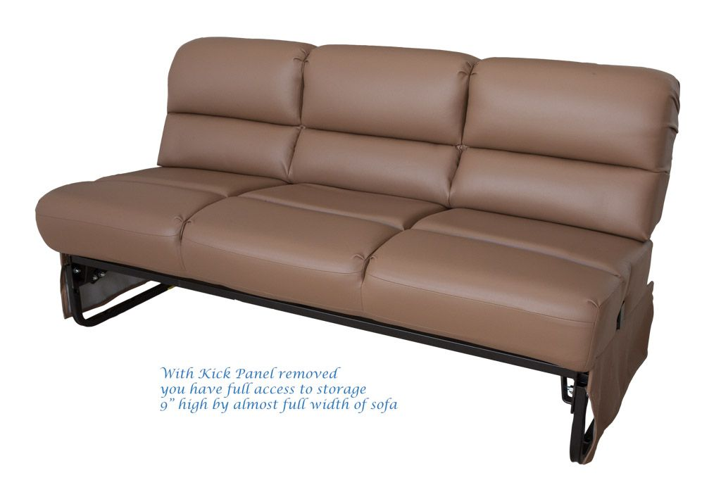 Flexsteel Donner Rv Sofa Model 4075g 64eb Armless Easy Bed Jackknife With Front Kick Panel Removed To Show Storage E Under Seat