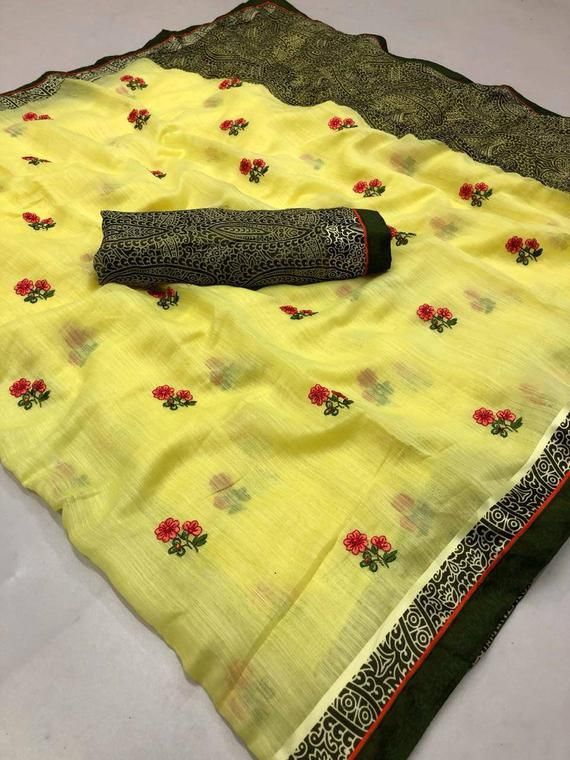 Photo of Lenin print with embroidery work saree / yellow saree / saree for women / Wedding saree / indian saree / saree blouse / saree