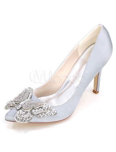 991084b91a Champagne Wedding Shoes High Heel Pumps Satin Slip On Pointed Toe  Rhinestones Butterfly Bridal Shoes-No.4