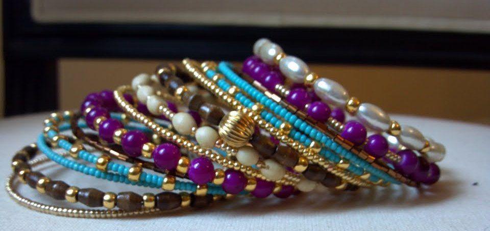 Beaded Wrap Bracelet, Wrap Bracelet, Memory Wire Bracelet, Beaded Bracelet Cuff, Stacked Bracelet. $35.00, via Etsy.