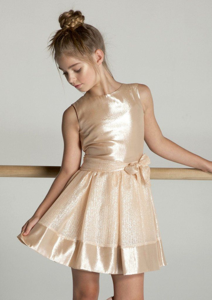 45f52dfae21e Angelina Sleeveless Dress in shimming rose metallic silk lurex | Girls Dress  | Gold | Special Occasion | young girl | fashion