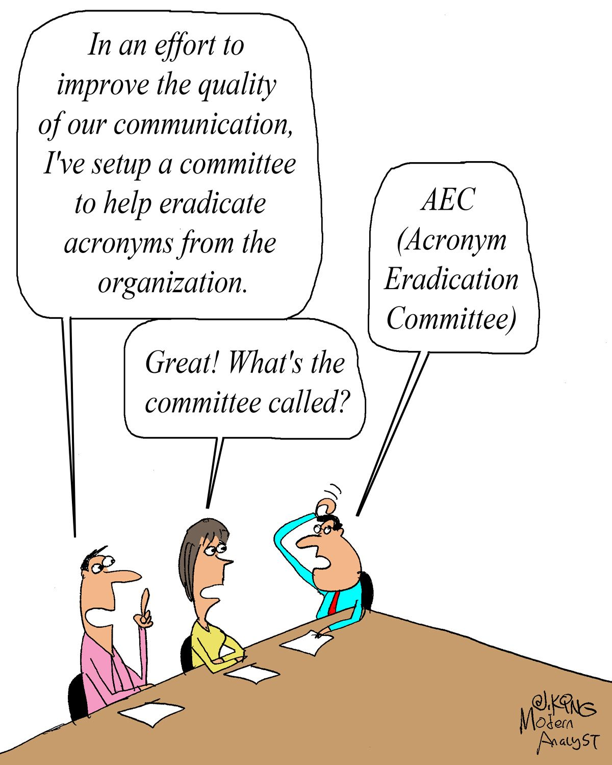 Humor Cartoon Acronym Eradication Committee Business Analyst