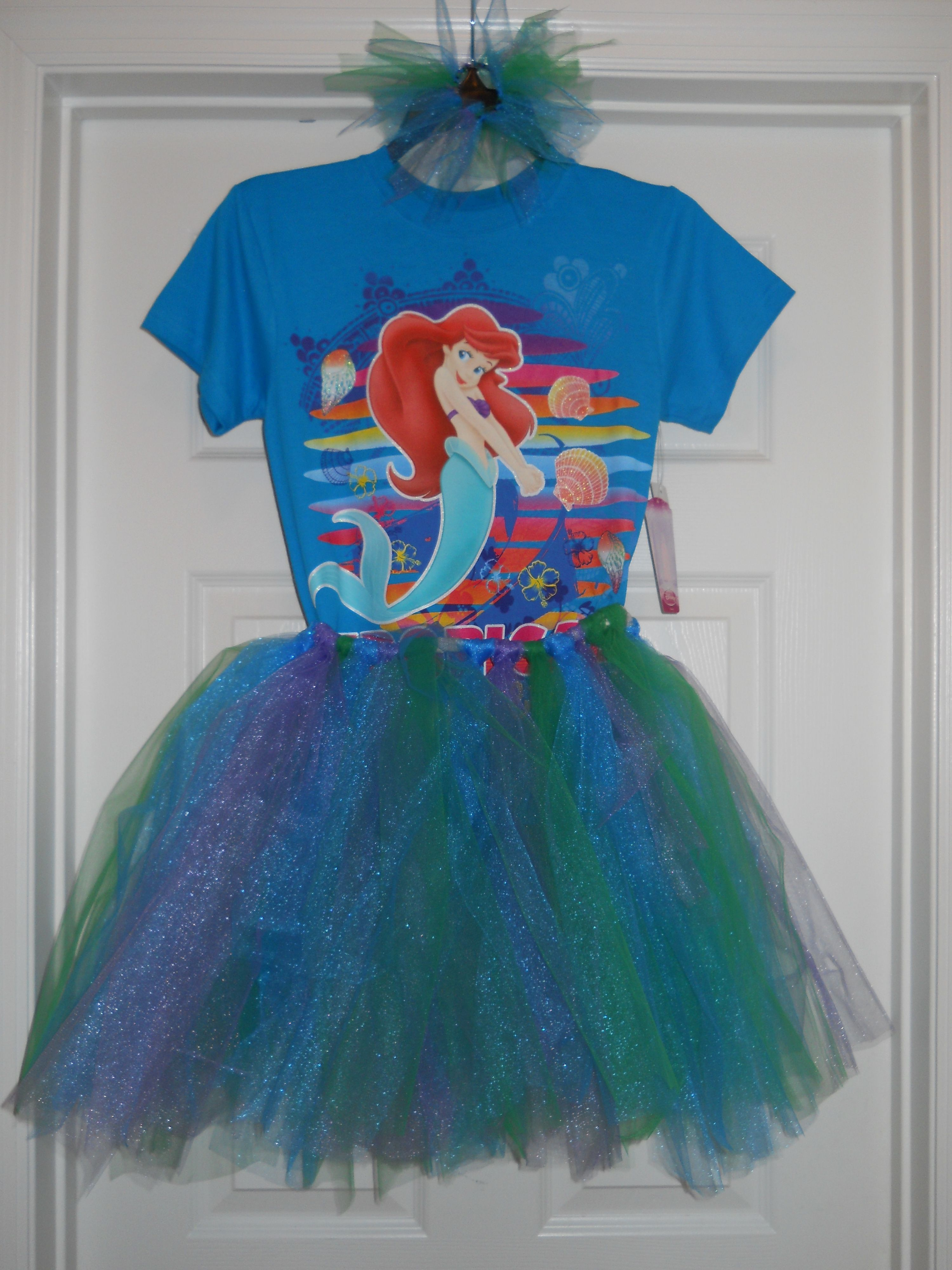 I made the tutu and bow!! This is for my niece when she comes to see me on set at Disney! We both LOVE Ariel.