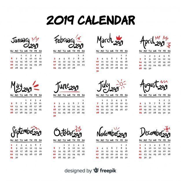 Modern hand drawn 2019 calendar template 2019 - 2018 Free planners